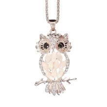 875062455-MyMei Rose Gold Plated Opal Crystal Owl Pendant Necklace Long Sweater Chain on JD