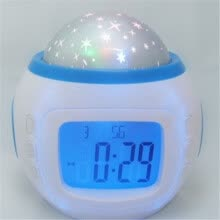 quartz-watches-FIRSTSELLER Starry Sky LED Projector Music Alarm Clock with Backlight, Calendar, and Thermo  95269 on JD