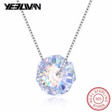 -Fashion Brand Small Cube Genuine Austrian Crystal Necklace 925 Sterling Silver Choker Chain Necklaces for Women collar mujer on JD