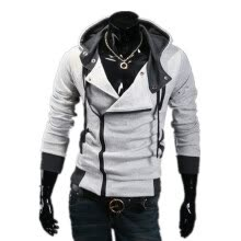 -Zogaa New Korean Men's Hoodie Slim Oblique Zipper on JD