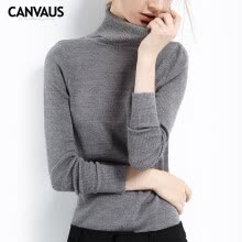 cardigans-Canvaus Autumn New Women Creamy White High Collar Slim Long-sleeved Comfortable Bottoming Shirt Wool Knitted Sweater Tops on JD