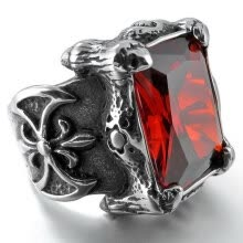 -Hpolw Men's Large Stainless Steel Ring CZ Silver Black Red Dragon Claw Knight Fleur De Lis Vintage Gothic on JD