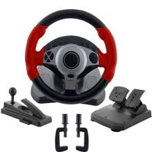 875062507-900 degrees Racing game steering wheel computer learning car driving simulator belt, throttle brake pedal, clutch pedal, stall l on JD