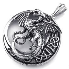 -Hpolw Classic Trendy Jewelry Mens Gothic Tribal Dragon circular Stainless Steel Hollow Pendants,Black Silver,18-26 inch Chain on JD
