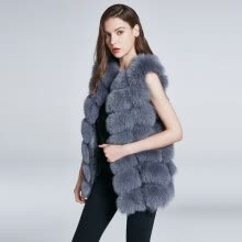 fur-Women's Jacket Fox Fur Vest Real Fur Coat Furry Jacket Natural Fox Fur Warm Fashion Stitching Stripe New Discount 2018 New on JD