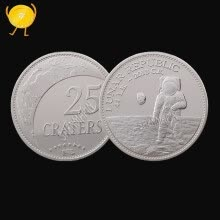 badges-Us space commemorative coin astronaut silver moon crater collection of non - currency coins on JD
