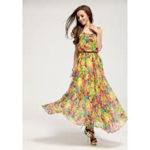 -Summer Women's Vintage Style Chiffon Floral Sleeveless Long Maxi Evening Cocktail Party Dress on JD