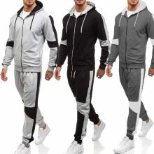 875061886-2018 Men's Fashion Zipper Hat Sweaters and Sweatpants Loose Outdoor Fitness Training Suits on JD