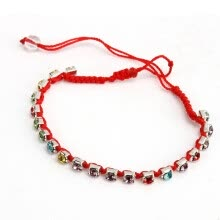 875062462-Bracelet Colorful Crystal Rhinestone Beads Handmade Braided Red Cords Free Ship on JD