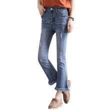 875061825-Summer Fashion High Waist Elastic Hole Jeans Skinny Pencil Stretch Denim Pants Women Jeans Flare Pants on JD