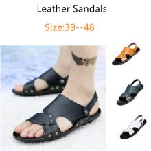 875062322-2018 Summer New Style Fashion Leather Sandals Slip Plus Size Sandals and Slippers Beach Shoes on JD
