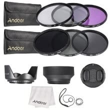 lens-filters-49mm 52mm 55mm  58mm 62mm 67mm 72mm UV CPL FLD ND 2 4 8 Lens Filter Kit Pouch   Hood   Cap for Canon Nikon X9I6 on JD