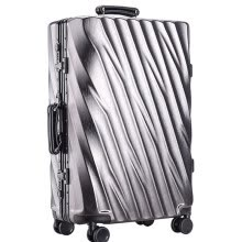 luggage-suitcases-20/24/28 inch Aluminum Frame Rolling Luggage Bag Full Metal Travel Suitcase Luxury Brand Business Brushed Metal PC Trolley Bags on JD