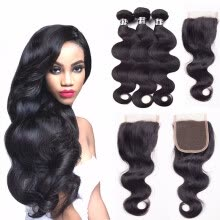-Amazing Star Brazilian Virgin Hair Bundles with Closure Body Wave with Closure Human Hair with Closure Free Part Natural Color on JD