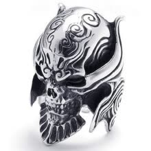 -Hpolw Large Biker Men's Gothic Casted Skull Black&Silver Stainless Steel beautiful design skeleton Ring, Width:35mm on JD