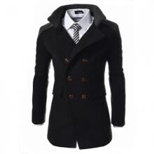 cardigans-Zogaa New Men's Wool Coat Double Wool Warm Stand Callar Double-breasted on JD