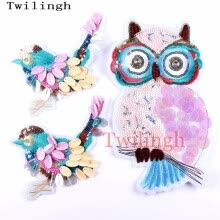 -1 Pcs New Top Sew On Patches Bird Owl Animal Sequined Patch Applique DIY Sewing Fabric Repair Clothing Patches Wedding Stickers on JD