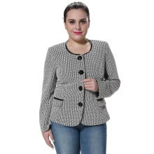 -POPBASIC Women's Round Neck Slim Fit Black And White Grid Lady Blazer Coat on JD