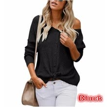 cardigans-2018 Womens Long Sleeve Button Up Knits Casual Knot Ties Weaters Sexy Off Shoulder Sweaters on JD