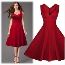 -2016 Summer Style Sexy Red Sleeveless Women 50's Rockabilly Vintage Style Dress Evening Party Tea Dresses Size on JD