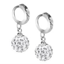 -925 sterling silver Womens Girl Chic Crystal Rhinestone Stud Hoop Earrings on JD