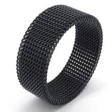 875062457-Hpolw Flexible Stainless Steel Screen Mens Womens beautiful design Ring,Woven Mesh Band,Width: 8mm on JD