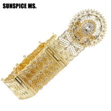 -SUNSPICE MS ethnic turkish wedding metal belt jewelry waist chain hollow flower crystal buckle adjust length body chains bijoux on JD