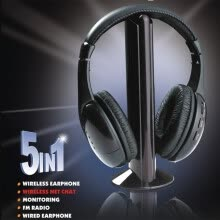 -5 in 1 HiFi Wireless Headset FM Radio Monitor MP3 PC TV Audio Mobile Phones on JD