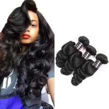 -Ishow Hair 7A Peruvian Loose Wave Hair 3 Bundles 100% Human Hair Weave 8-28 Natural Color Hair Extensions on JD
