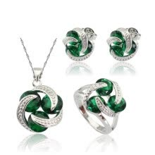 -Fashion Green Stone Silver Plated Ring for Women Necklace Pendant Choker Earrings Ring Free Jewelry Box on JD