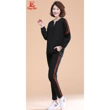 two-piece-suit-M L XL XXL 3XL 4XL 5XL plus size cotton new autumn 2018 women clothing two piece set big size black t shirt and pant causal lady on JD