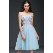 -Princess Sweetheart Knee-Length Sky Blue Homecoming Dress With Lace-Up Back on JD