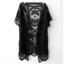 -Women's Hollow-Out Retro Blouse Shirt Lace Embroidery Floral Crochet Short Sleeve Cardigan on JD