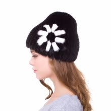 -Women's winter hat natural mink fur handmade fur cap elastic side flower personality design 2018 new discount fashion popular on JD