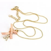 875062455-Sweet Cute GOLDEN Bowknot Paris Tower Pendant Chain Necklace for Girls 60159 on JD