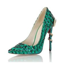 -Green drilled snake with sharp pointed, thin shoes, fashion night club wedding heels. on JD