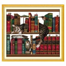 -41 * 38cm DIY Handmade Needlework Counted Cross Stitch Set Embroidery Kit 14CT Cat on Bookshelf Pattern Cross-Stitching Cross Stit on JD
