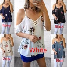 tanks-camis-Women Fashion  Off Shoulder Vintage Floral Print T-shirt Sexy Blouse on JD