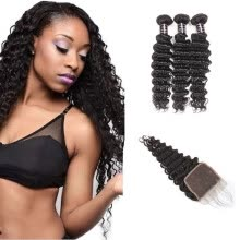 -Ishow Hot Selling 7A Deep Wave Human Hair Bundles With Baby Hair With Lace Closure Peruvian Virgin Hair 3 Bundles With Closure on JD