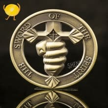 8750207-COMMEMORATIVE COINS WHO TRAINS MY HANDS FOR WAR PSALM MILITARY CHALLENGE COIN on JD