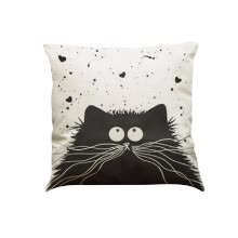 decorative-pillows-Lindo Simple de moda blanco y negro Gato Imágenes de dibujos animados Lino para el asiento de oficina de casa Sofá Asiento decorat on JD