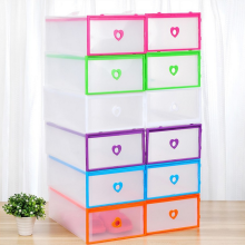 -Female drawer PP plastic wrap transparent thickening storage  Heart type shoe box  Drawer shoebox on JD