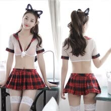 875061832-Lovely Red Uniform for Wife Women's Sexy Exotic Costumes Sets Jacket Skirt Stockings on JD