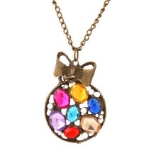 875062455-Chain Hot Women Necklace Vintage Retro Bronze Colorful Bowknot Flower Pendant on JD