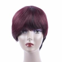 -Brazilian Human Hair Wigs For Black Women Short Fashion Style Wigs 1B/99J or Natural Color Bob Wigs with Non Lace on JD