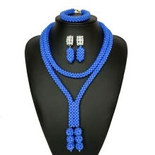 -Sky Blue African Beads Jewelry For Wedding Nigerian Bridal Costume Statement Necklace Set Fashion African Jewelry Set For Women on JD