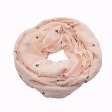 women-scarves-Pink Star Print Chiffon Long Infinity Scarf for Women Circle Loop Wraps on JD
