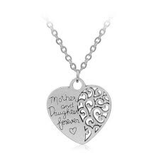 necklaces-pendants-MyMei Women 18' Silver Mother and daughter Forever' Heart Pendant Necklace Chain Gift on JD