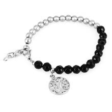 -Black Acrylic Beads Stainless Steel Life Tree Inspiration Charm Bracelet on JD