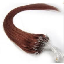 -Premium 16 18 20 22 24 26 Inch Easy Loop Micro Ring Beads Tipped Human Hair Extensions Dark Auburn Color 33# 100Pcs/Set 50g on JD
